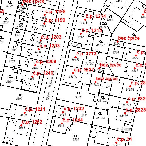 Katastrální mapa Stavební objekt Zelené Předměstí 1227, Pardubice