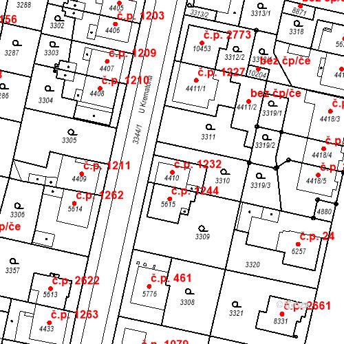 Katastrální mapa Stavební objekt Zelené Předměstí 1232, Pardubice