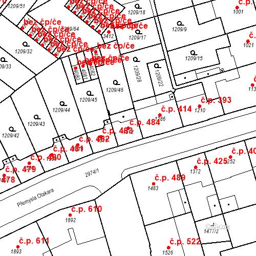 Katastrální mapa Stavební objekt Chrudim IV 484, Chrudim