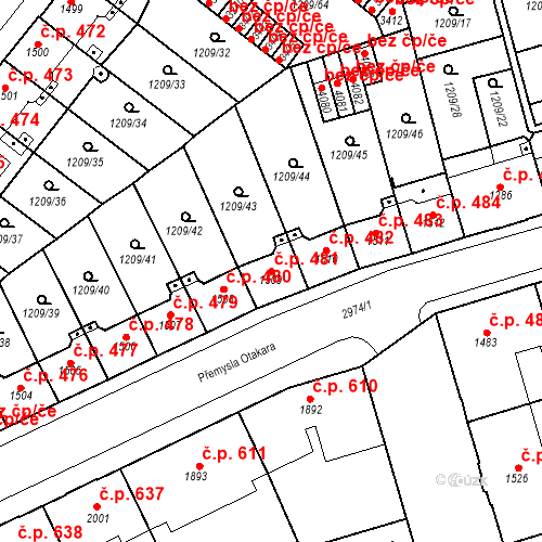 Katastrální mapa Stavební objekt Chrudim IV 481, Chrudim