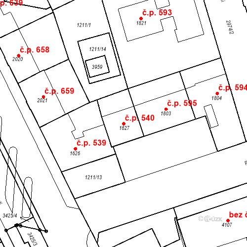 Katastrální mapa Stavební objekt Chrudim IV 540, Chrudim