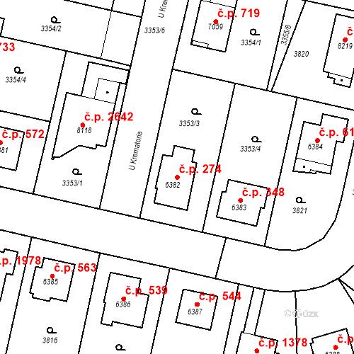 Katastrální mapa Stavební objekt Zelené Předměstí 274, Pardubice