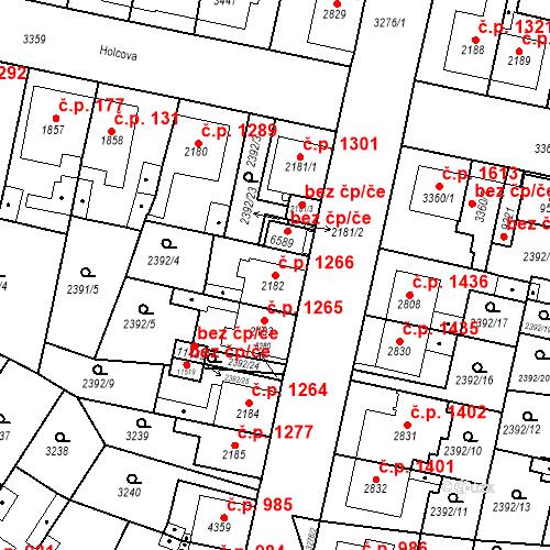 Katastrální mapa Stavební objekt Zelené Předměstí 1266, Pardubice