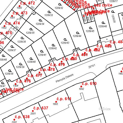 Katastrální mapa Stavební objekt Chrudim IV 480, Chrudim