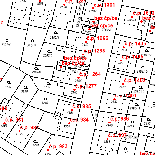 Katastrální mapa Stavební objekt Zelené Předměstí 1264, Pardubice
