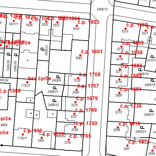 Katastrální mapa Stavební objekt Zelené Předměstí 1708, Pardubice