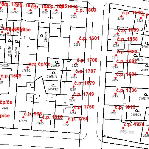Katastrální mapa Stavební objekt Zelené Předměstí 1707, Pardubice