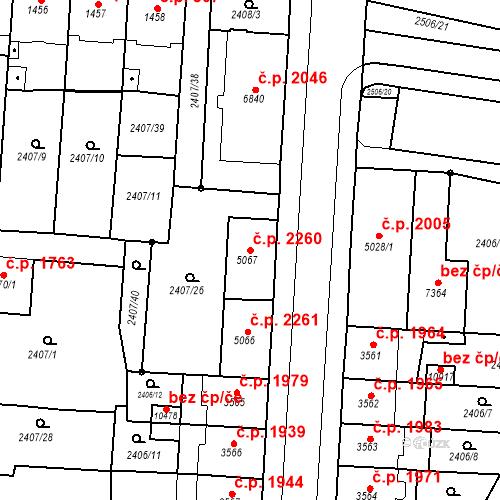 Katastrální mapa Stavební objekt Zelené Předměstí 2260, Pardubice