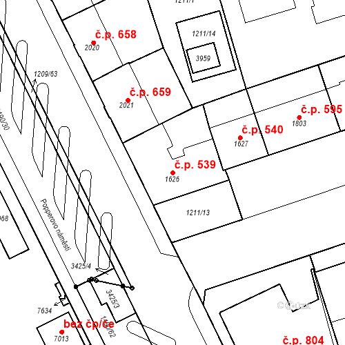 Katastrální mapa Stavební objekt Chrudim IV 539, Chrudim