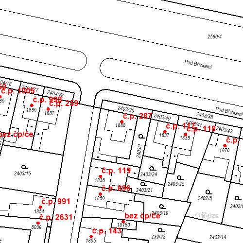 Katastrální mapa Stavební objekt Zelené Předměstí 287, Pardubice