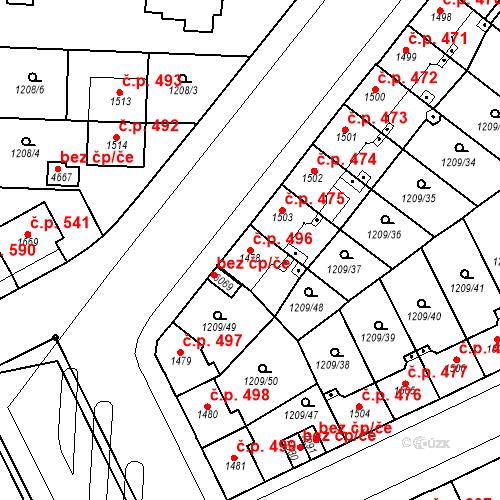 Katastrální mapa Stavební objekt Chrudim IV 496, Chrudim