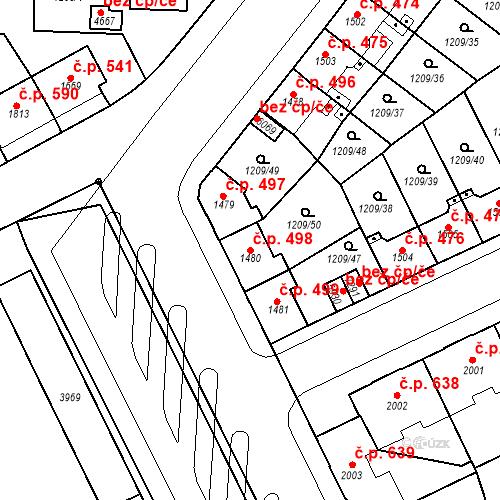 Katastrální mapa Stavební objekt Chrudim IV 498, Chrudim