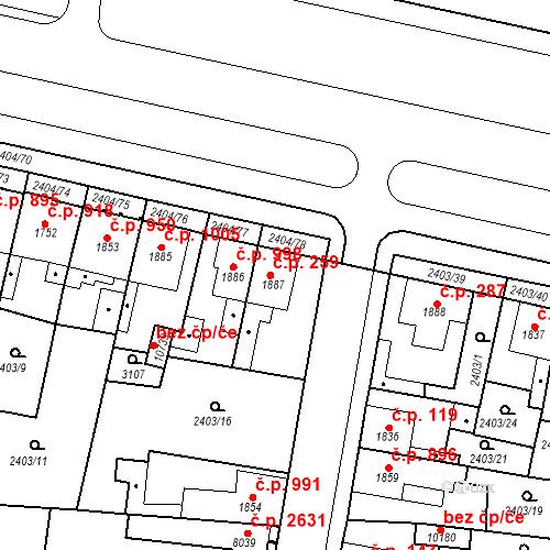 Katastrální mapa Stavební objekt Zelené Předměstí 259, Pardubice
