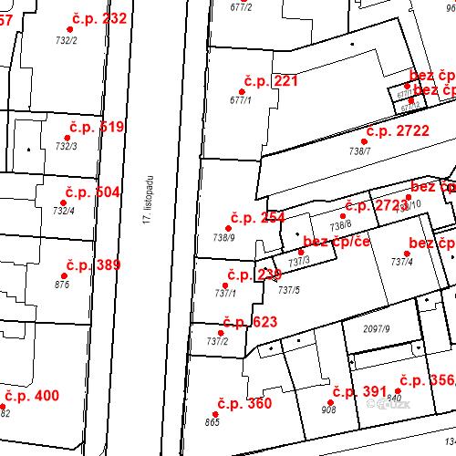 Katastrální mapa Stavební objekt Zelené Předměstí 254, Pardubice