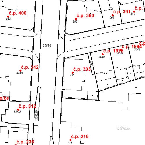 Katastrální mapa Stavební objekt Zelené Předměstí 303, Pardubice