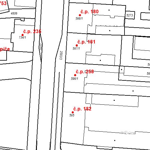 Katastrální mapa Stavební objekt Zelené Předměstí 258, Pardubice