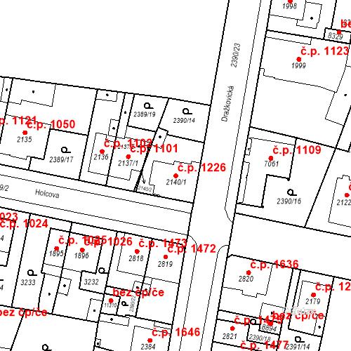 Katastrální mapa Stavební objekt Zelené Předměstí 1226, Pardubice