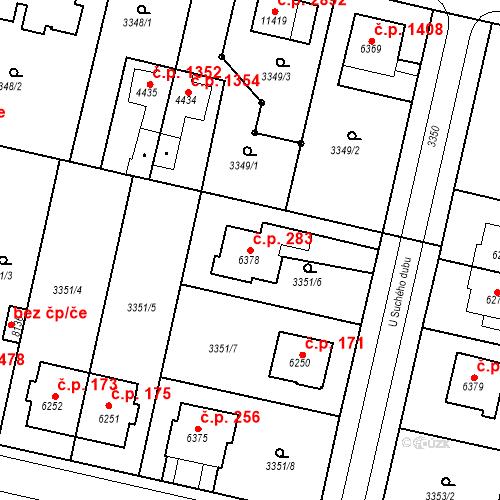 Katastrální mapa Stavební objekt Zelené Předměstí 283, Pardubice