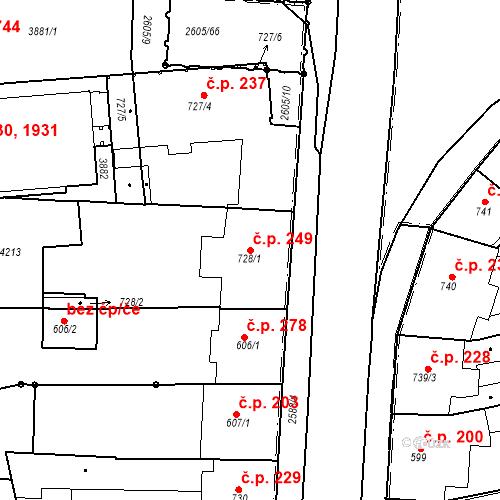 Katastrální mapa Stavební objekt Zelené Předměstí 249, Pardubice