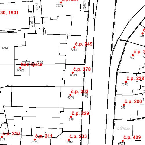 Katastrální mapa Stavební objekt Zelené Předměstí 278, Pardubice