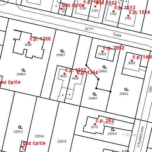 Katastrální mapa Stavební objekt Zelené Předměstí 1354, Pardubice