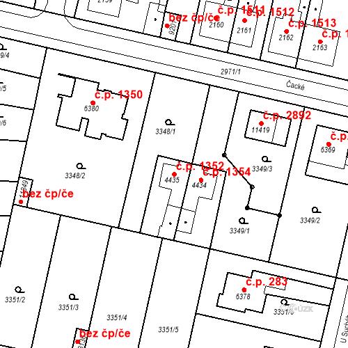 Katastrální mapa Stavební objekt Zelené Předměstí 1352, Pardubice