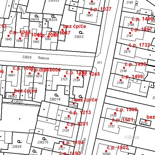 Katastrální mapa Stavební objekt Zelené Předměstí 1245, Pardubice
