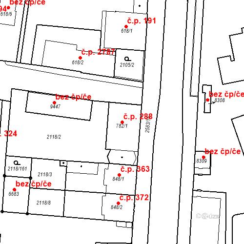 Katastrální mapa Stavební objekt Zelené Předměstí 288, Pardubice