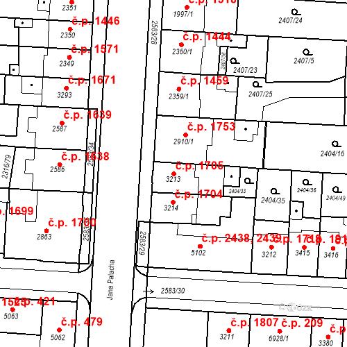 Katastrální mapa Stavební objekt Zelené Předměstí 1705, Pardubice