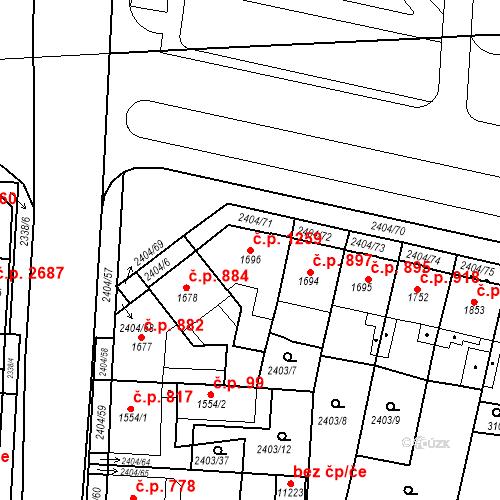 Katastrální mapa Stavební objekt Zelené Předměstí 1259, Pardubice