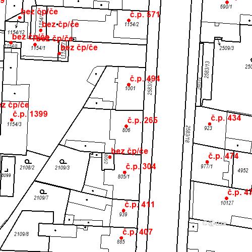 Katastrální mapa Stavební objekt Zelené Předměstí 265, Pardubice