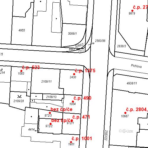 Katastrální mapa Stavební objekt Zelené Předměstí 1375, Pardubice