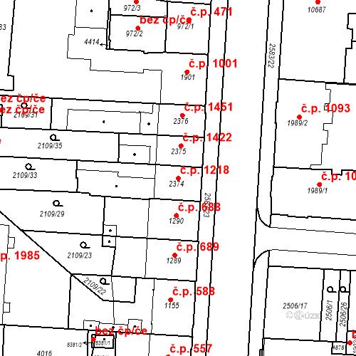 Katastrální mapa Stavební objekt Zelené Předměstí 1218, Pardubice