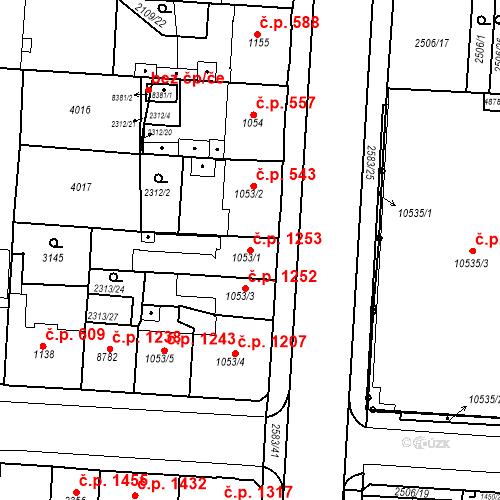 Katastrální mapa Stavební objekt Zelené Předměstí 1253, Pardubice