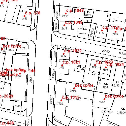 Katastrální mapa Stavební objekt Zelené Předměstí 1231, Pardubice