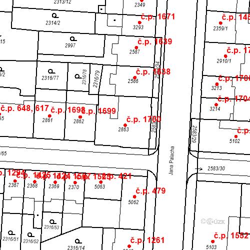 Katastrální mapa Stavební objekt Zelené Předměstí 1700, Pardubice