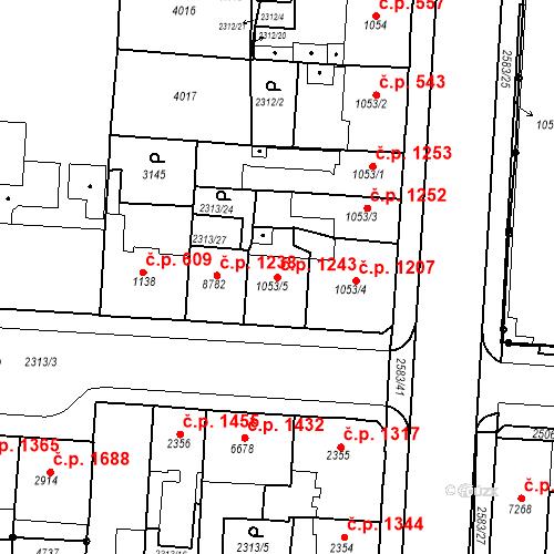 Katastrální mapa Stavební objekt Zelené Předměstí 1243, Pardubice