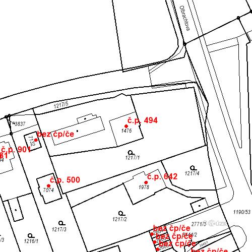 Katastrální mapa Stavební objekt Chrudim IV 494, Chrudim