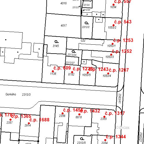 Katastrální mapa Stavební objekt Zelené Předměstí 1238, Pardubice