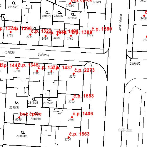 Katastrální mapa Stavební objekt Zelené Předměstí 2273, Pardubice