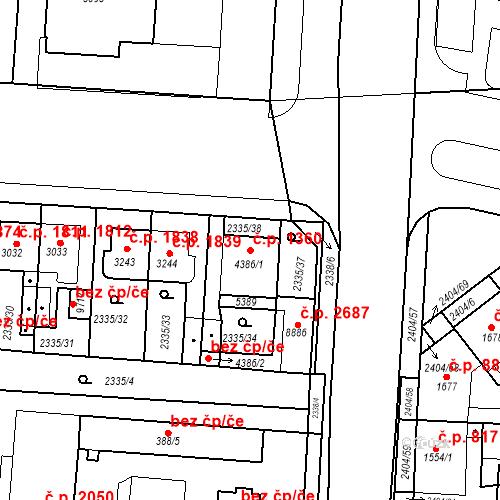 Katastrální mapa Stavební objekt Zelené Předměstí 1360, Pardubice