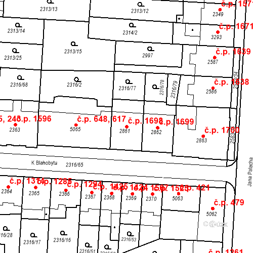 Katastrální mapa Stavební objekt Zelené Předměstí 1698, Pardubice