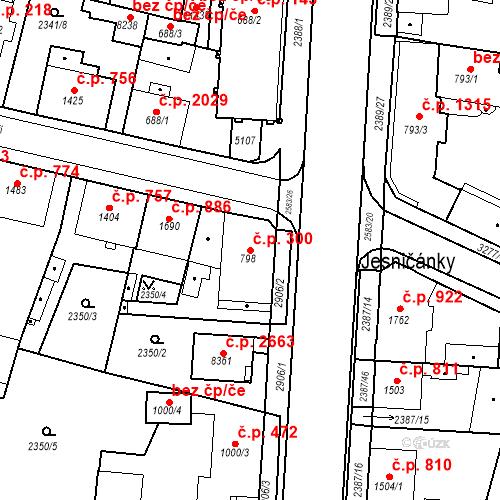 Katastrální mapa Stavební objekt Zelené Předměstí 300, Pardubice