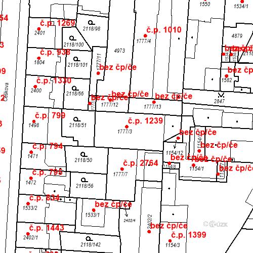 Katastrální mapa Stavební objekt Zelené Předměstí 1239, Pardubice