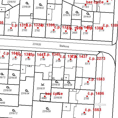 Katastrální mapa Stavební objekt Zelené Předměstí 1373, Pardubice