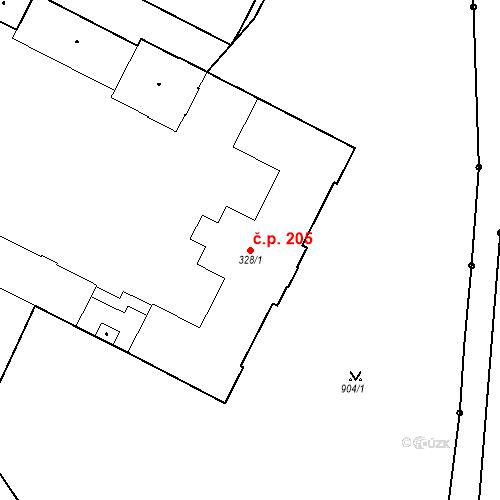 Katastrální mapa Stavební objekt Chrudim IV 205, Chrudim