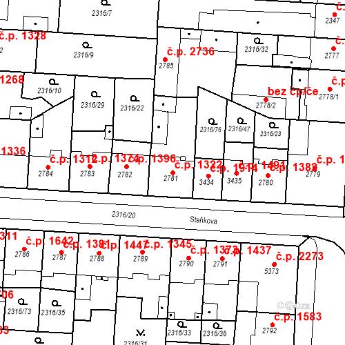 Katastrální mapa Stavební objekt Zelené Předměstí 1322, Pardubice