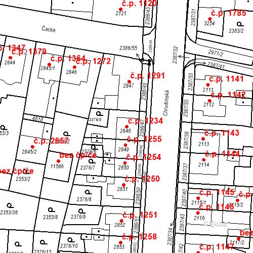 Katastrální mapa Stavební objekt Zelené Předměstí 1234, Pardubice