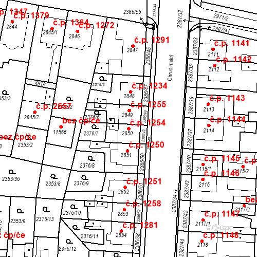 Katastrální mapa Stavební objekt Zelené Předměstí 1254, Pardubice