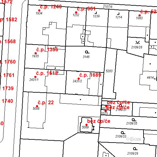 Katastrální mapa Stavební objekt Zelené Předměstí 1689, Pardubice